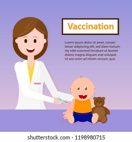 Baby Vaccination. Doctor holding Syringe for Child. Smiling Doctor Examining Baby Boy. Consultation of Pediatrician at Clinic. Pediatrician and Baby Vector Cartoon Illustration for Pediatrics Medicine