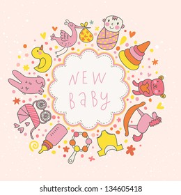 baby vector card. Cartoon childish elements - baby carriage, stork, hare, bear, rattle and other in funny style. Ideal for invitation