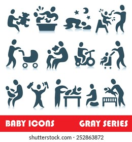Baby vector icons, gray series