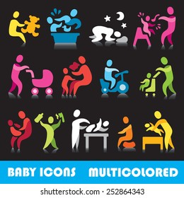 Baby vector icons,  multicolored series