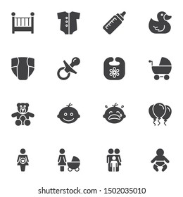 Baby vector icons set, modern solid symbol collection filled style pictogram pack. Signs, logo illustration. Set includes icons as crib bed, diaper, milk bottle, family, newborn baby, pregnancy, child