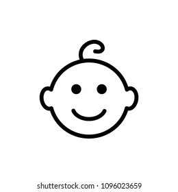Baby Vector Line Icon. Child smiling.  Happy Boy or Girl. Baby Face Smile Pictogram