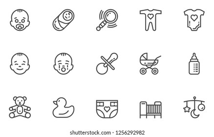 Baby Vector Line Icons Set. Newborn, Child and Motherhood Accessories, Care of Children. Editable Stroke. 48x48 Pixel Perfect.