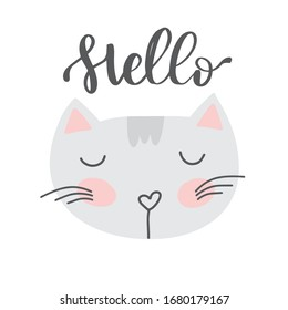 Baby vector poster, nursery illustration, cute cat face with hand lettering text Hello