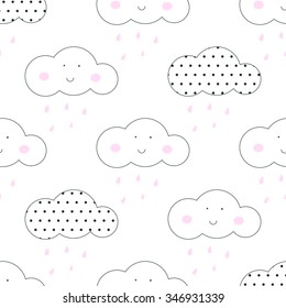 Baby vector seamless pattern. Light fun sky print for textile fabric. Kids room decor stickers for wall, furniture, surfaces.