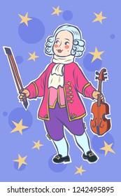baby violinist musician little mozart. Comic cartoon pop art retro vector illustration drawing