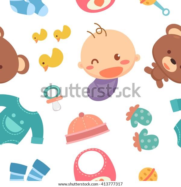 Baby Wallpaper Kid Accessories Cute Wallpaper Stock Vector
