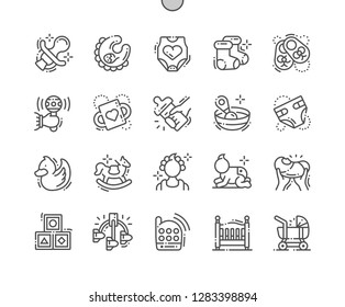 Baby Well-crafted Pixel Perfect Vector Thin Line Icons 30 2x Grid for Web Graphics and Apps. Simple Minimal Pictogram