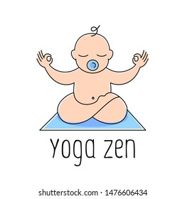 Baby yoga zen logo design template - love and care concept - emblem, sticker or badge for kids activity class.