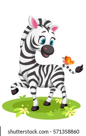 Baby Zebra drawing playing with butterfly