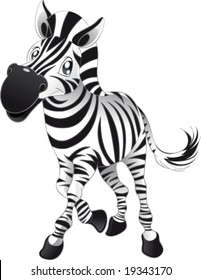 Baby Zebra. Funny cartoon and vector character