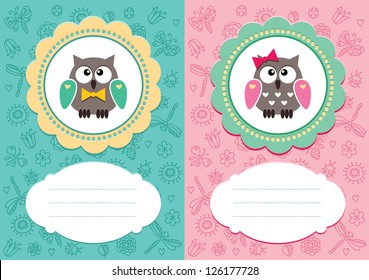 Baby-boy and baby-girl cards with cute owlets. Some blank space for your text included.