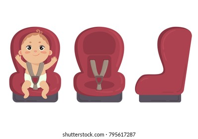 Babyboy sitting in automobile seat. Red car chair for baby boy from different angles. Side and front view of carseat. Vector isolated on white background