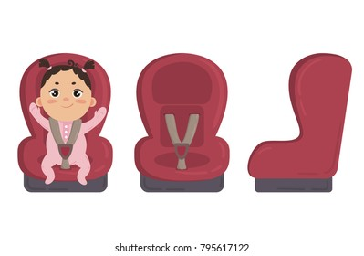 Babygirl in footie cloth and scratch mittens sitting in automobile seat. Red car chair for baby from different angles. Side and front view of carseat. Vector on white background