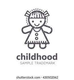 Babyish icon with little girl (doll) in flat linear style. Monochrome, isolated. Grunge texture