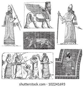 Babylonian and Assyrian art / vintage illustration from Brockhaus Konversations-Lexikon 1908