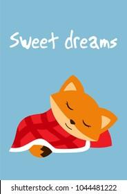 "Babyroom poster. Cute fox sleeping under blanket, the inscription ""Sweet dreams""."