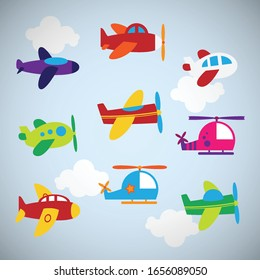 Baby's airplanes set, different modes of air transportation