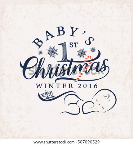 Babys First Christmas Design Element Vintage Stock Vector Royalty