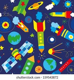 baby's rockets seamless pattern