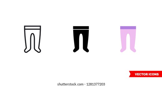 Baby's tights icon of 3 types: color, black and white, outline. Isolated vector sign symbol.