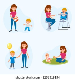 Babysitter deals with children. The nanny feeds, walks with the child, plays with the child. A set of flat illustrations of vector babysitter and nanny with different children.