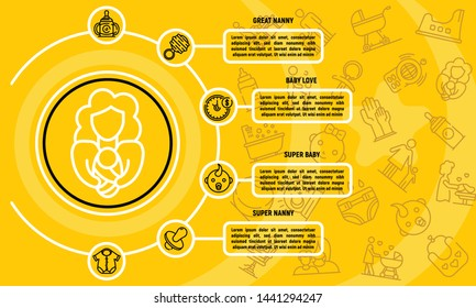 Babysitter infographic. Outline babysitter vector infographic for web design isolated on white background