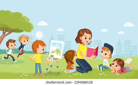 Babysitter with kids at the park. Mum reading book to children. Boy drawing the watercolor. Teacher reading book to children.