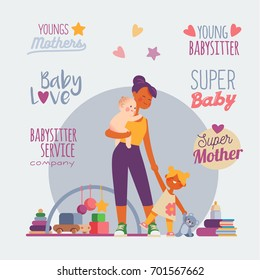 babysitter nanny, colorful cartoon vector illustration.