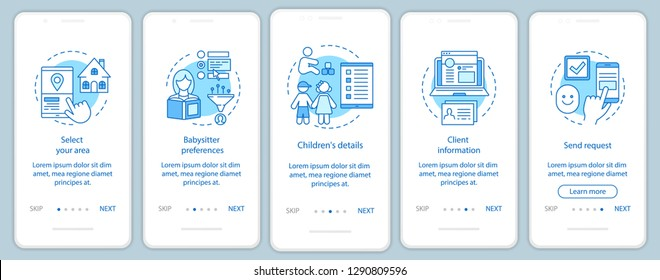 Babysitter reservation onboarding mobile app page screen vector template. Childcare service booking. In-home nanny choosing. Walkthrough website steps. UX, UI, GUI smartphone interface concept