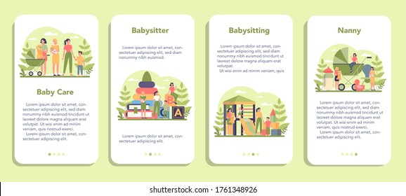 Babysitter service or nanny agency mobile application banner set. In-home babysitter. Woman taking care of baby, playing with child. Isolated vector illustration - Shutterstock ID 1761348926