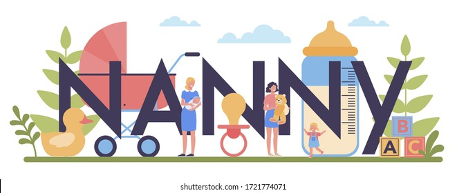 Babysitter service or nanny agency typographic header concept. In-home babysitter. Woman taking care of baby, playing with child. Isolated vector illustration