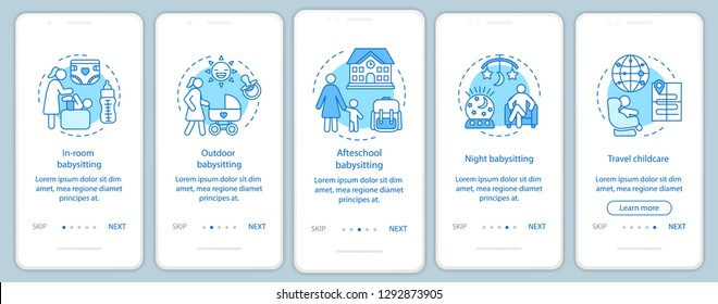 Babysitter types onboarding mobile app page screen vector template. In-room, afterschool, night childcare. Hotel babysitting. Walkthrough website steps. UX, UI, GUI smartphone interface concept