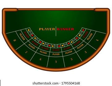 Baccarat table isolted on white background.Graphic vector