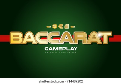 baccarat text with gold texture on a green background suitable as a postcard or banner design for a card game
