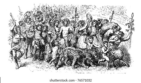 Bacchanalia, a wild and mystic festivals of the Greco-Roman god Bacchus vintage engraving. Old engraved illustration of the people taking part in the Bacchanalia festival. Trousset encyclopedia