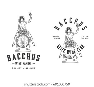 Bacchus sitting on a wood wine barrel
