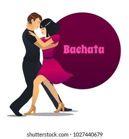 Bachata Dancers. Dancing Couple in Cartoon Style for Fliers Posters Banners Prints of Dance School and Studio. Vector Illustration
