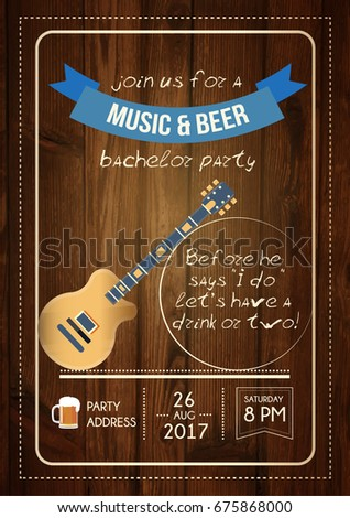 bachelor music beer party invitation card stock vector royalty free