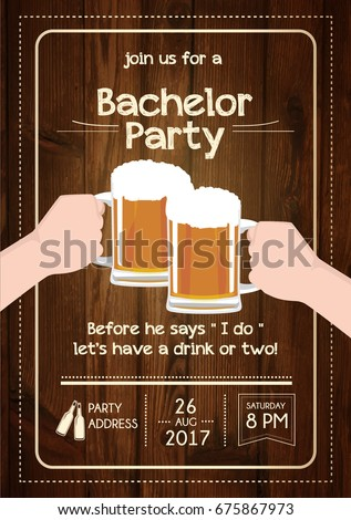 Bachelor Party Invitation Card Stock Vector Royalty Free 675867973