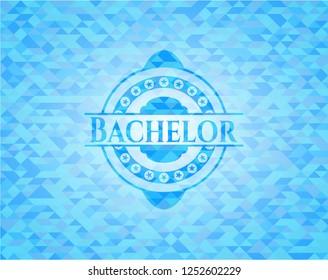 Bachelor realistic sky blue emblem. Mosaic background