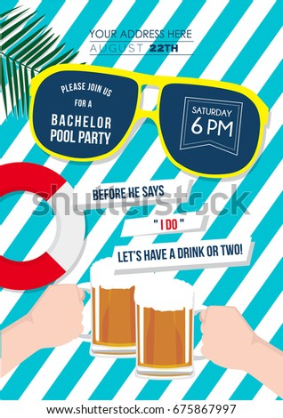 bachelor swimming pool party invitation card stock vector royalty