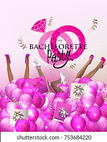 Bachelorette party banner with lady's legs protruding from air balloons with gift boxes. Vector illustration