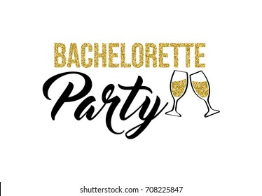 Bachelorette party calligraphy invitation card, banner or poster graphic design lettering vector element. Hand written hen party invite decoration with glasses of champagne.