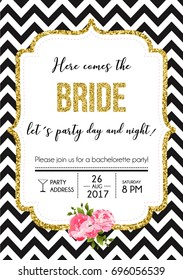 Bachelorette party calligraphy postcard with golden glitter and lettering vector element. Hand written party invitation card with quote Here comes the bride let's party day and night.