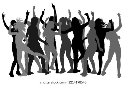 Bachelorette party dancer people vector silhouette. Nightlife concept with crew dancing. Disco club lesbian event. Girl night.  Birthday celebration. Teenagers in good mood. Fun and entertainment.