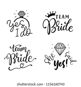 Bachelorette party, hen party or bridal shower hand written calligraphy set, greeting card, photo booth props. Vector lettering