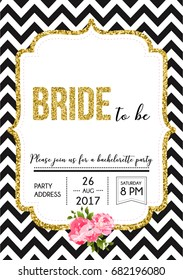 Bachelorette party invitation card with golden frame, black and white pattern and text Bride to be.
