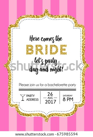 Bachelorette Party Invitation Card Pink Stripes Stock Vector
