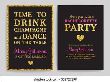 Bachelorette party invitations. Set of vector printable cards